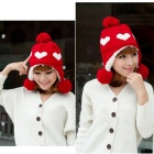 M001 Casual Love Heart Pattern Woolen Yarn Warm Hat for Women - Red + White