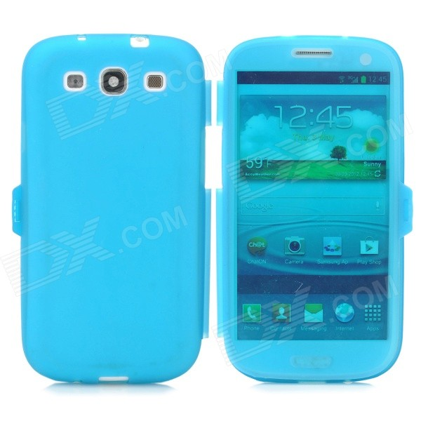 Protective Silicone Case for Samsung i9300 - Translucent Blue protective silicone case for nds lite translucent white