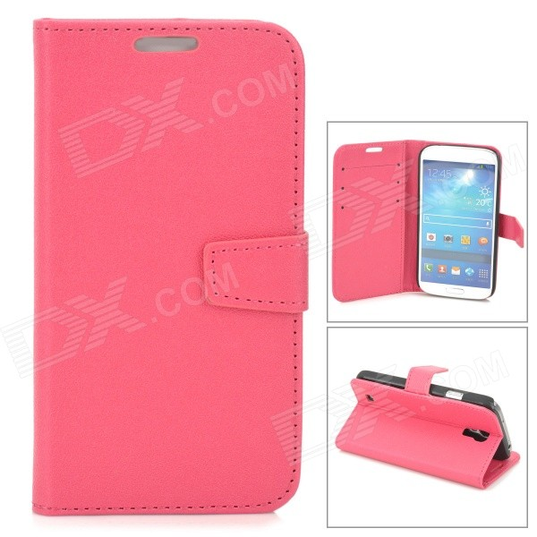 Protective PU Leather Case for Samsung Galaxy S4 i9500 - Deep Pink cm001 3d skeleton pattern protective plastic back case for samsung galaxy s4