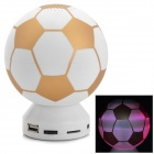 Football Style USB 2.0 3.5mm Speaker w/ TF / FM / LED - White + Golden