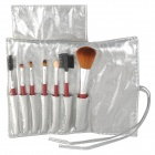 Professional 7-in-1 Wooden Handle Makeup Brushes Set - Red Brown + Silver