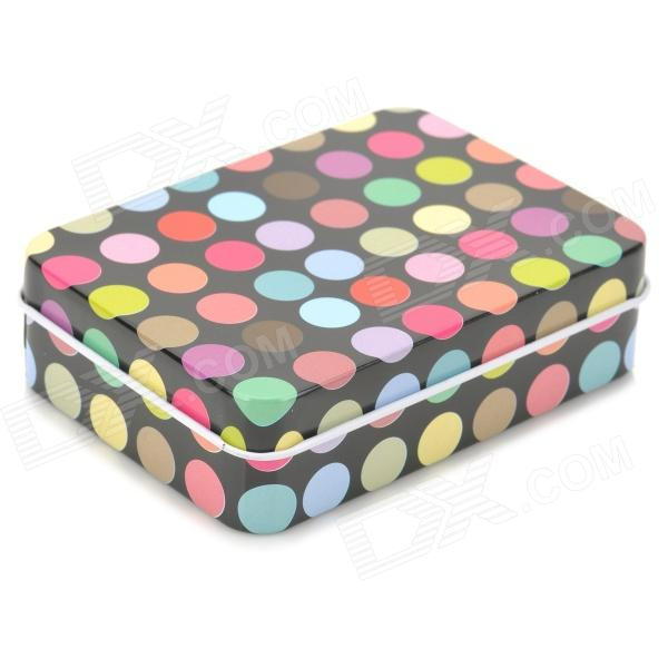 Fashion Polka Dots Pattern Iron Small Accessories Storage Box - Black + Multicolored spark storage bag portable carrying case storage box for spark drone accessories can put remote control battery and other parts