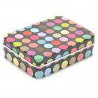 Fashion Polka Dots Pattern Iron Small Accessories Storage Box - Black + Multicolored