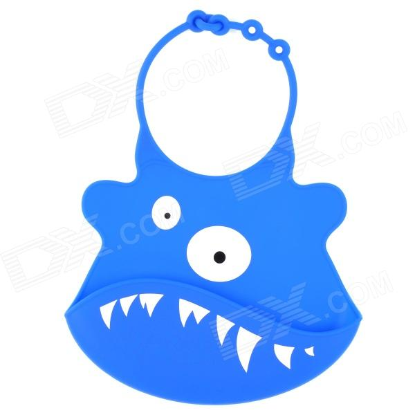 Cartoon Cow Pattern Non-toxic Silicone Feeding Food Baby Bib - White + Blue