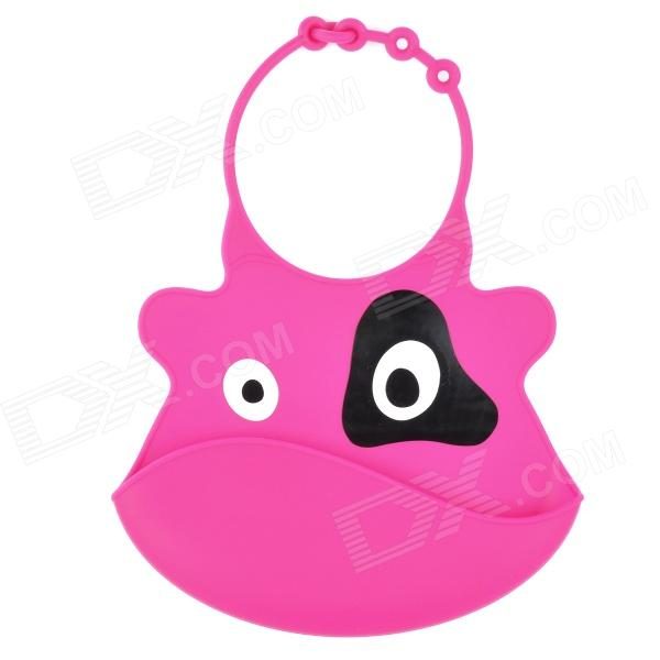 Cartoon Cow Pattern Non-toxic Silicone Feeding Food Baby Bib - Deep Pink