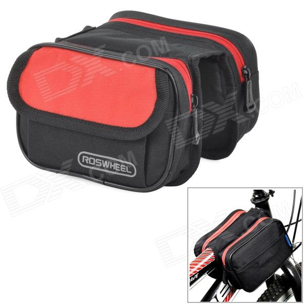 ROSWHEEL Bicycle Front Tube Bag - Black + Red