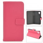 Protective Second Layer Cow Leather Case w/ Card Holder Slots for LG Nexus 5 - Deep Pink