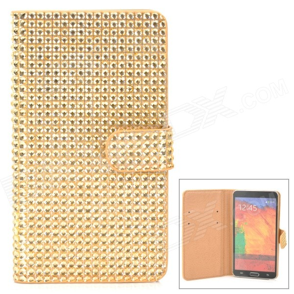 Shining Protective Rhinestone PU Leather Case for Samsung Galaxy Note 3 N9000 - Golden metal ring holder combo phone bag luxury shockproof case for samsung galaxy note 8
