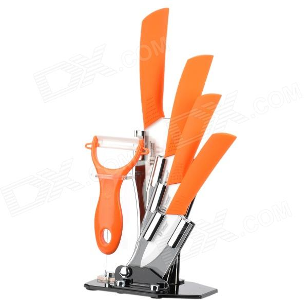 TJC TJC-018 6-in-1 Zirconia 3 4 5 6 Ceramic Knives + Peeler + Holder - Orange + White