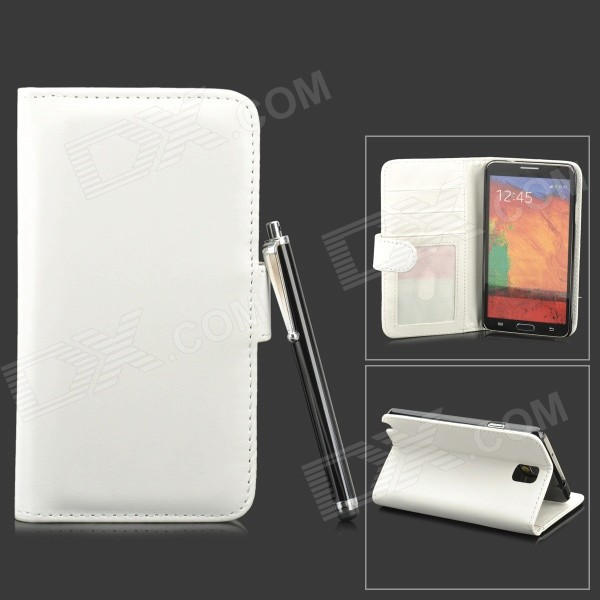 Protective PU Leather Case w/ Stylus Pen for Samsung Galaxy Note 3 - White + Black protective pu leather case w display window for samsung galaxy note 3 n9000 white