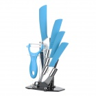 "6-in-1 Zirconia 3"" 4"" 5"" 6"" Ceramic Knives + Peeler + Holder - Blue + White"