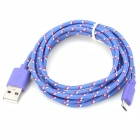 USB 2.0 to Micro USB Data/Charging Woven Cable for Samsung Galaxy Tab 3 P5200 / P5210 - Purple (2M)
