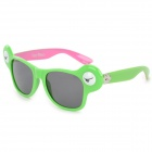 Cute Frog Style Plastic Frame PC Lens UV400 Protection Sunglasses - Green + Grey