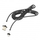 NF7601 USB 2.0 to Micro USB Data/Charging Coiled Cable for Samsung / HTC + More - Black + White