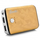 5600mAh Mobile Power Bank w/ Dual USB / Flashlight for Iphone 5 / 5s - Golden + Black