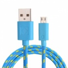 USB 2.0 to Micro USB Data/Charging Woven Cable for Google Nexus 7 / Nexus 7 II - Blue (100CM)