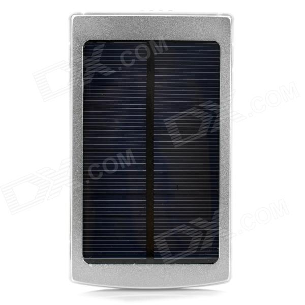 Solar Powered 10000mAh Power Bank w/ 3 Charging Adapters for Cell Phone / Tablet PC - Silver 1800mah portable solar power solar power battery pack for cell phones and usb gadgets