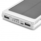 "Solar Powered ""10000mAh"" Power Bank w/ 3 Charging Adapters for Cell Phone / Tablet PC - Silver"