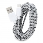 USB 2.0 to Micro USB Woven Data Cable for Samsung Galaxy Tab- White