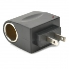 AC to DC Car Cigarette Lighter Socket Adapter - Black (2-Flat-Pin Plug)