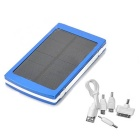 "Solar Powered ""10000mAh"" Power Bank w/ 3 Charging Adapters for Cell Phone / Tablet PC - Blue"