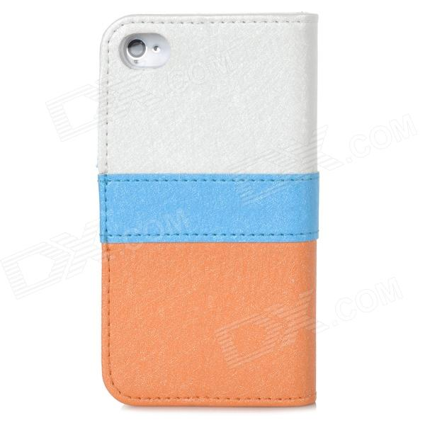 Fashion Flip Open PU Leather Case for Iphone 4 / 4S - Golden + White + Blue remax protective flip open pu leather case w visual window for iphone 4 4s white