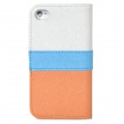 Fashion Flip Open PU Leather Case for Iphone 4 / 4S - Golden + White + Blue