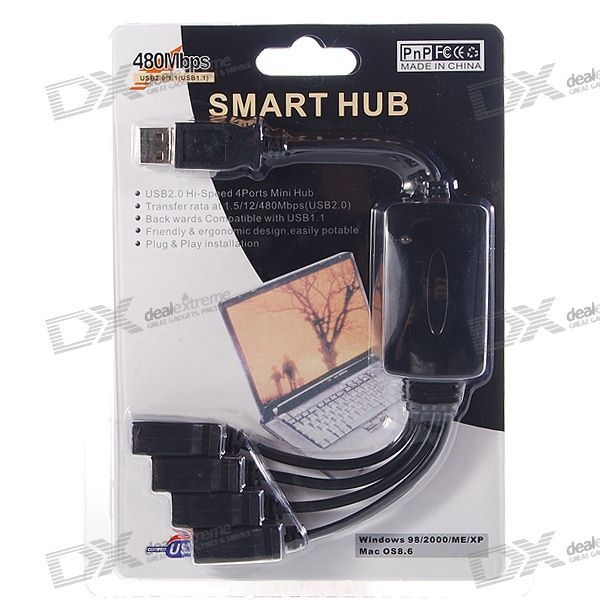 Cable Style USB 2.0 4-Port Hub (20CM-Cable)