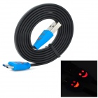 USB to Micro USB V3.0 9-Pin Data/Charging Cable w/ Smiley Face Light for Samsung N9000 - Black