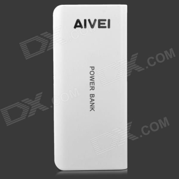 AIVEI 1-2011 5V 10000mAh Power Bank for Cellphones / iPad / PSP / MP3 + More - White + Light Grey 5200mah mini rechargeable mobile power bank for cellphone tablet pc more blue white