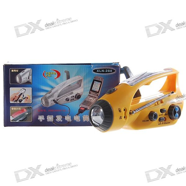 Solar Power + Hand Cranked Dynamo Survival 2-Mode Siren Flashlight with FM Radio and Phone Charger