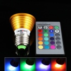 KINFIRE LED E27 3W 200lm RGB Spotlight w/ Remote Controller - Golden (85~265V)