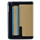 Protective PU leather + Plastic Case Cover Stand for Retina Ipad MINI / Ipad MINI - Khaki + Black
