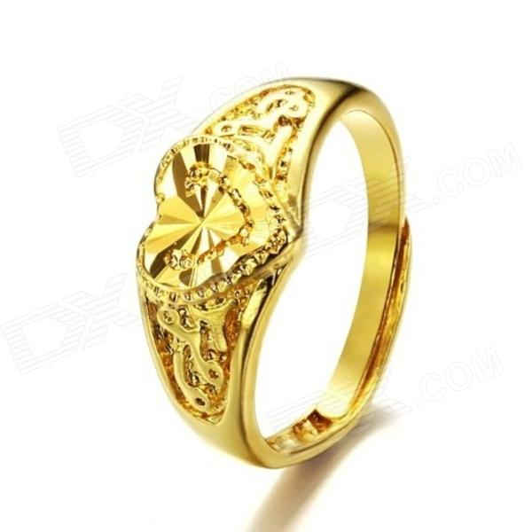 KJ001 Hollow out 18k Gold Plated Heart-shaped Women's Ring - Golden (Free Size)