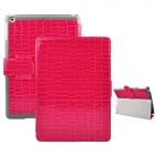 Angibabe Crocodile Pattern PU Leather Case Stand w/ Auto Sleep Cover for Retina Ipad MINI -Deep Pink