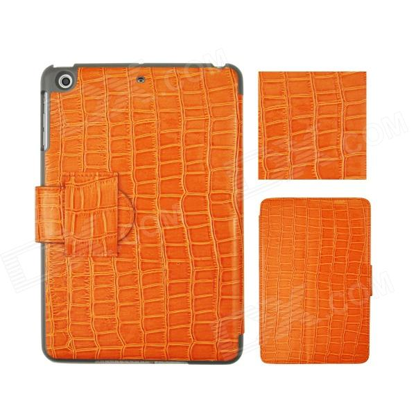 Angibabe Crocodile Pattern PU Leather Case Stand w/ Auto Sleep Cover for Retina Ipad MINI - Orange