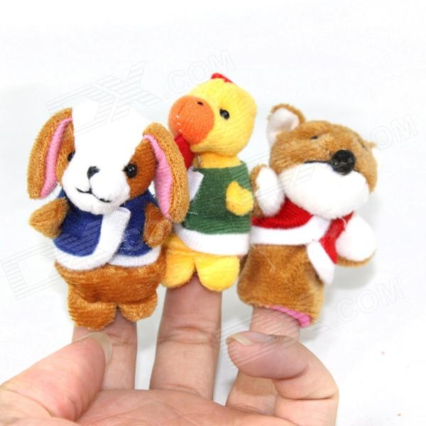 Cute Puzzle Doll Story Finger Dog + Rooster + Fox Set - Yellow + Brown + White