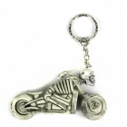 Creative Motorcycle Skull Rubber Keychain - Grey + Silver
