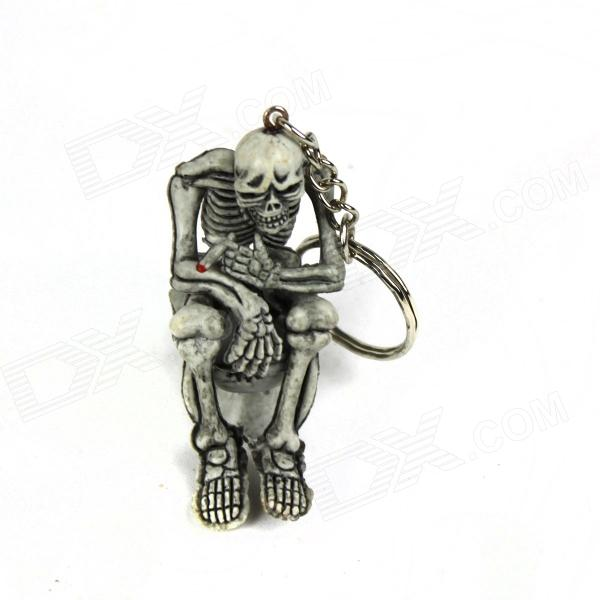 Skeleton on the Toilet Style Rubber Keychain - Grey + Silver