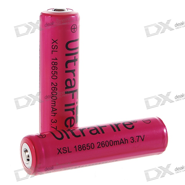 UltraFire Protected 18650 3.7V 2600mAh Lithium Batteries - Red (2-Battry Pack) ultrafire 2400mah 3 7v protected 18650 cell