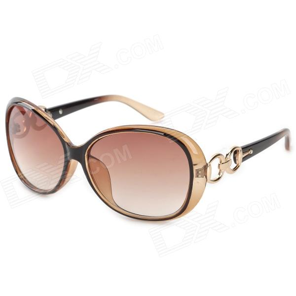 Fashion Women's PC + Plastic Frame Resin Lens UV400 Protection Sunglasses - Tan + Tawny cy8150 fashion women s resin uv400 protection sunglasses leopard pattern frame