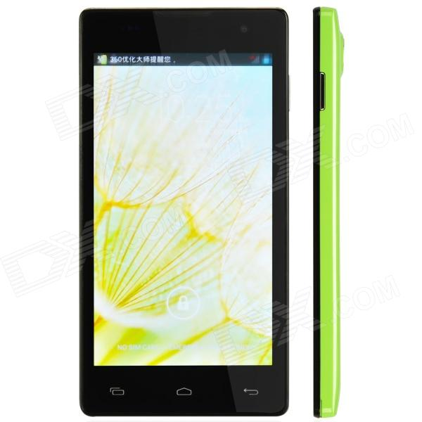 JIAKE JK-11 Quad-Core Android 4.2 WCDMA Bar Phone w/ 5.0, 1GB RAM, 4GB ROM, GPS, FM - Green jiake f1w 5 0inch capacitive touch screen mtk6572 dual core 1 2ghz smartphone 512mb 4gb 2 0mp 0 3mp android 4 2 os 3g gps with protective case black