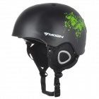Moon MS-90 Professional Outdoor Skiing Helmet - Black + Green (Size L)