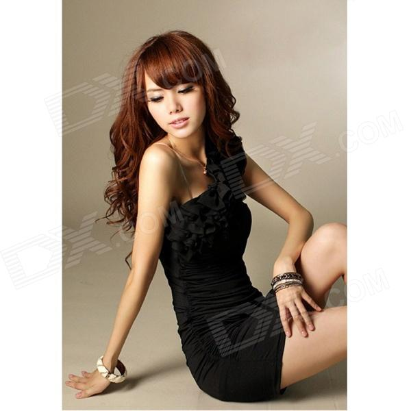 JM1148 Elastic Milk Silk Sexy One-shoulder Off Dress - Black jm1148 elastic milk silk sexy one shoulder off dress blue