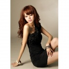 JM1148 Elastic Milk Silk Sexy One-shoulder Off Dress - Black