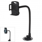 H39+C66 Universal Cell Phone 360 Degree Rotation Flexible Holder Mount w/ Suction Cup - Black