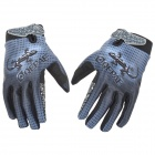 Qepae F7512 Gecko Pattern Cycling Anti-Slip Breathable Full-Finger Gloves - Blue + Black (Size L)