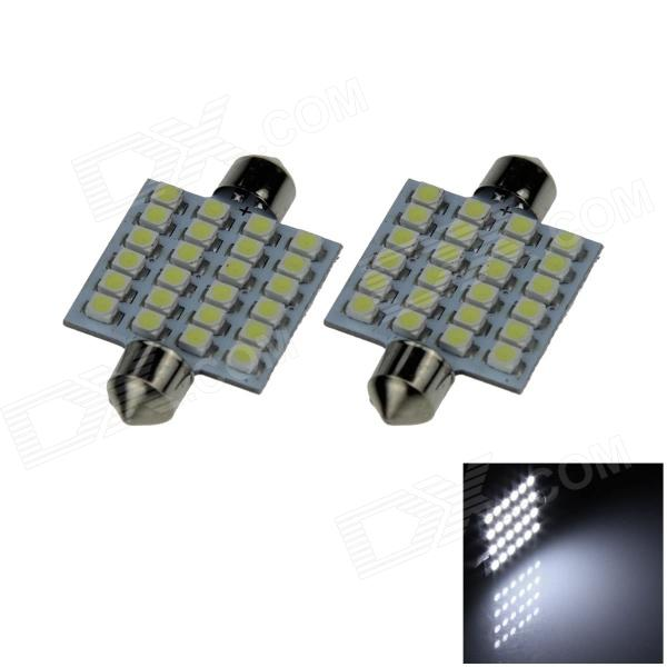 Festoon 39mm 2.4W 240lm 24 x SMD 3528 LED White Light Car Reading / Roof / Dome Lamp (12V / Pair ) Beaumont Purchase b
