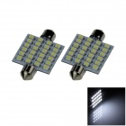 Girlande 39mm 2,4 W 240lm 24 x SMD 3528 LED White Light Car Lesen / Dach / Dome-Lampe (12V / Paar)