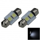 Festoon 31mm 0.4W 40LM 2-SMD 5050 LED de luz blanca de coches Reading / techo / Cúpula de la lámpara (12V / par)